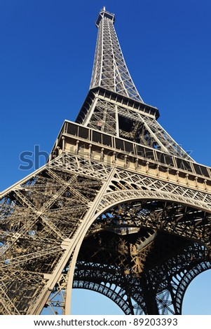 Findpicture  Eiffel Tower on The Eiffel Tower With Blue Sky In Paris Stock Photo 89203393