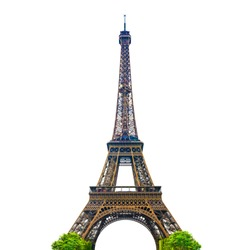 The Eiffel Tower with white background isolated. Paris, France. CLIPPING PATH.
