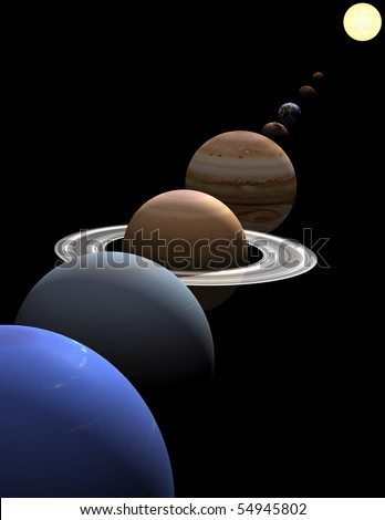 The eight planets in the solar system in alignment around the sun on black background