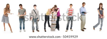 The eight young students isolated on a white background
