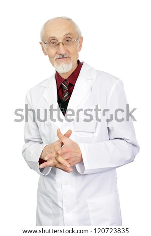 the elderly doctor in a scrub and points on the isolated white background