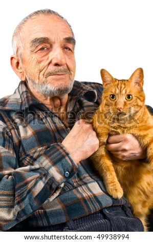The elderly man with a cat