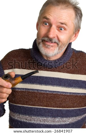 The elderly surprised man with a pipe in a hand. Isolation on a white background
