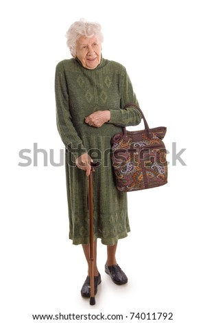 The elderly woman isolated on white background