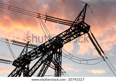 The electric line on sky background at sunset