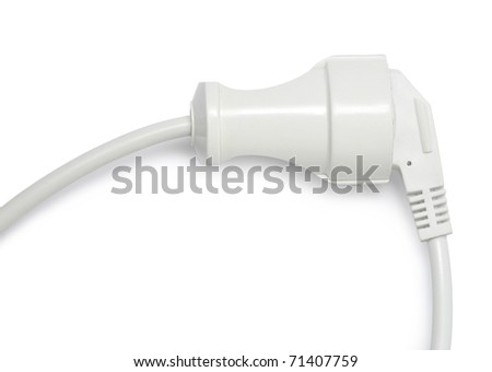 The electric socket, connect cable, isolated on white