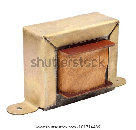 The electric transformer isolated on a white background