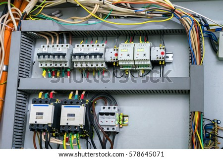 The electrical control panel is mounted in a box. #578645071