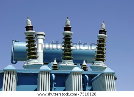 The electricity oil transformer in powerplant