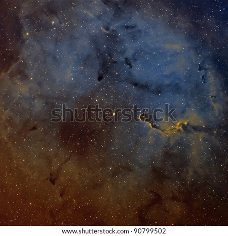 The Elephant Trunk Nebula, IC 1396, in the Hubble Palette