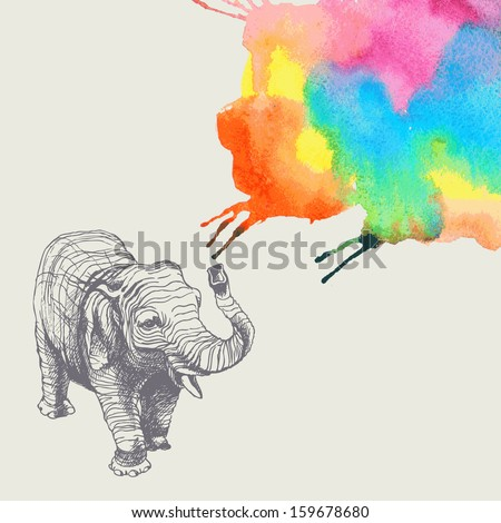 The Elephant With Colorful Abstract Fountain. Hand Drawn ...