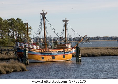 The Elizabeth II sailing ship in Manteo