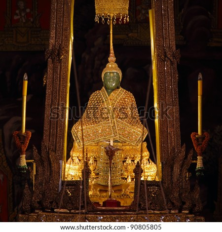 The Emerald Buddha in the temple of Wat Phra Kaeo at the Grand Palace in Bangkok, Thailand.