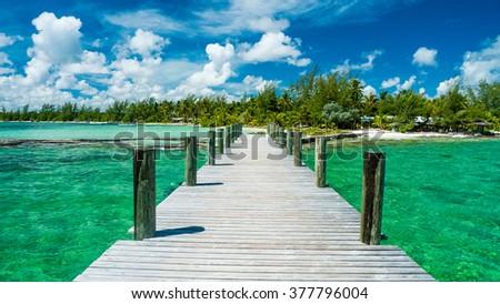The emerald waters of Andros Island glisten beneath an idyllic sky