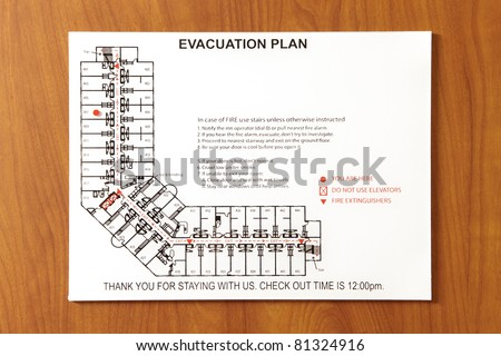 The emergency evacuation plan for a hotel