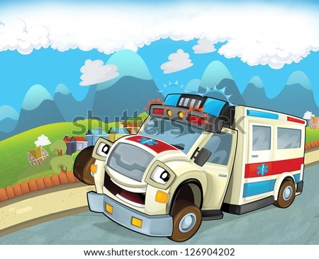 stock photo the emergency unit the ambulance illustration for the children 126904202 - Каталог — Фотообои «Для детской»