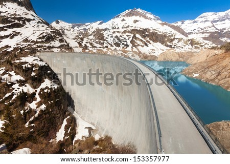 The Emosson hydroelectric Dam, 2000 meters above sea level near village of Chatelard, Swiss on the border with France
