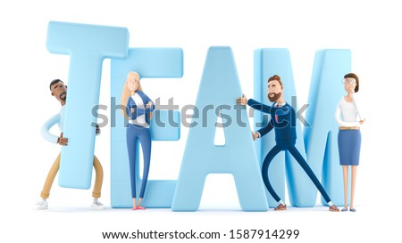 The employees together build the word teamwork. Business teamwork concept. 3d illustration.  Cartoon characters.
