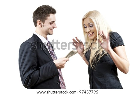 the employer gives money to a girl
