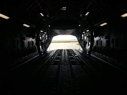 The empty cargo bay of a C-17 aircraft after an off-load in Africa.
