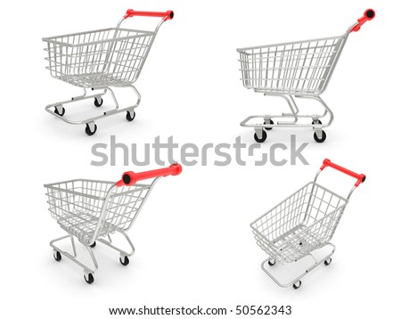 The empty shopping cart on white background