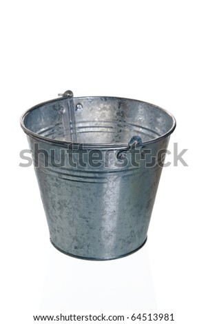 The empty zinced bucket a close up is isolated on white