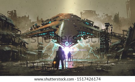 the encounter between two futuristic humans with the spaceship in the background against an abandoned earth, digital art style, illustration painting
