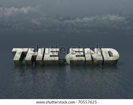 the end monument at the ocean - 3d illustration