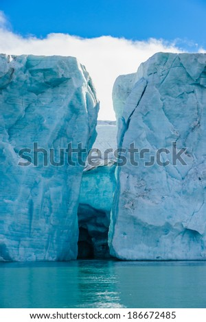 The end of a glacier in the Arctic Circle where it falls into the Arctic Ocean in Hornsund, Svalbard, Norway.