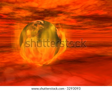 The end of the world - 3d render of the Earth on fire, floating among menacing red clouds.  Globe created from texture map included in standard licensed version of Daz Bryce 3d software.