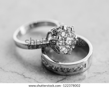 The engagement ring set.