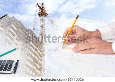 The engineer-the designer develops a construction plan of a many-storeyed apartment house