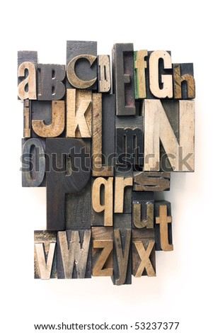 the english alphabet in wooden letterpress printing blocks