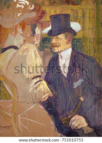 The Englishman at the Moulin Rouge, by Henri de Toulouse-Lautrec, 1892, Post-Impressionist painting. Lautrecs friend, English painter William Tom Warrener, appears as a top-hatted gentleman with two f Photo stock ©