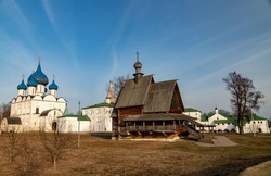 The ensemble of the Suzdal Kremlin on a sunny spring day.