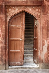 The entrance and stairs leading to the living quarters of the ceremonial Drum House (Naqqar Khana) on the grounds of the landmark Red Fort in Delhi, India.