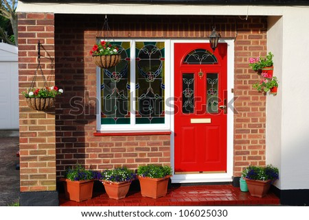 The entrance door of lovely English cottage