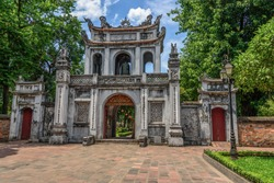 The entrance gate at a temple of Literature in Hanoi,Northern Vietnam