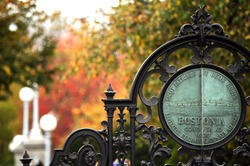 The entrance gate to Boston Public Garden (public space is Boston), the sing is the Official Seal of Boston (public domain, first published before 1923).  (Public parks, no need for property release)