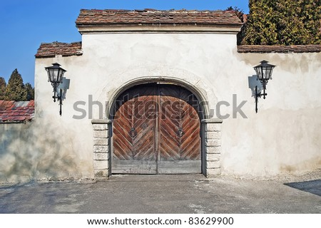 The entrance gate to the old yard. Olesko castle.
