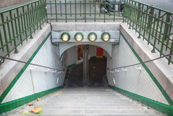 The entrance of a subway station in Paris