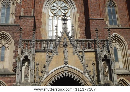 The entrance of the cathedral of St John the Baptist on the cathedral island in Wroclaw in Poland