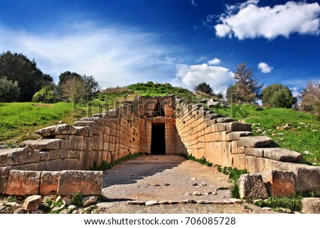 "The entrance of the  ""Treasury of Atreus"" (also known as the ""Tholos tomb of Atreus"" or ""Tholos tomb of Agamemnon""), ancient Mycenae, Argolida, Peloponnese, Greece. Date taken:14.2.2014 #706085728"
