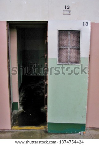 The entrance to a solitary confinement cell at Alcatraz Island prison in San Francisco California