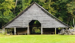 The entrance to a 17th century flour mill located in the Great Smokey Mountains National Park near Cherokee, NC.