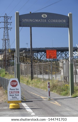 The entrance to Portland, Oregon's new Springwater Corridor is graced with an unappealing factory.