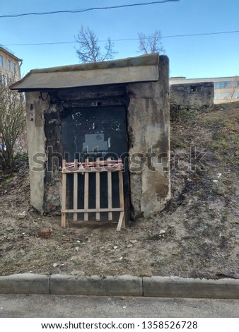 The entrance to the abandoned bomb shelter