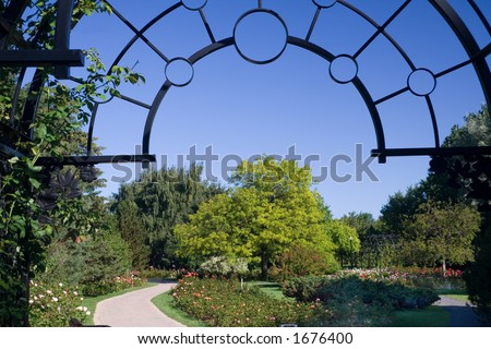 The entrance to the rose garden of the Montreal Botanical Gardens