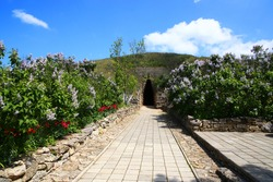 The entrance to the tomb inside the hill between the flowers in Crimea