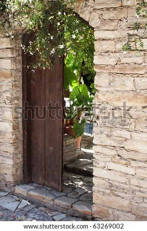 The entrance to the village house in Lefkara, Cyprus
